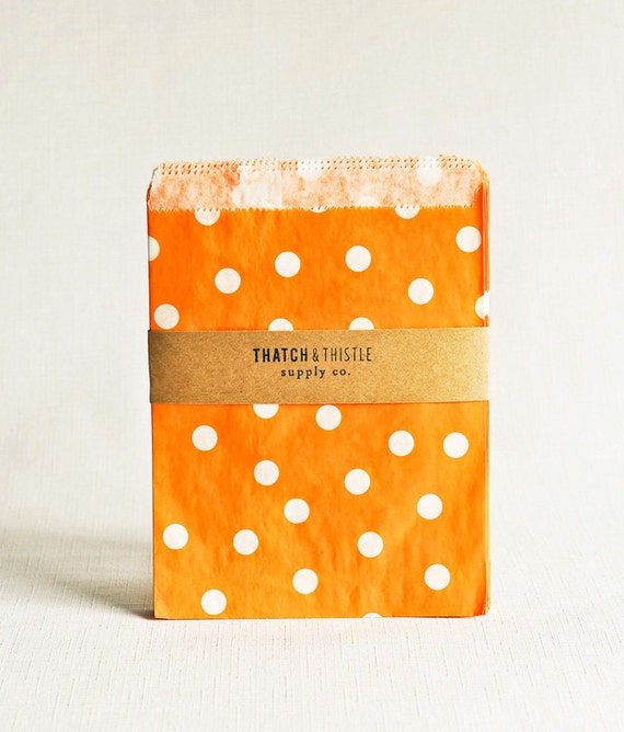 Paper Bags in Orange Polka Dots - Set of 20 - 5x7 Party Favor Kraft Gift Wrapping Invitations Packaging Embellishment Flat Sacks Merchandise
