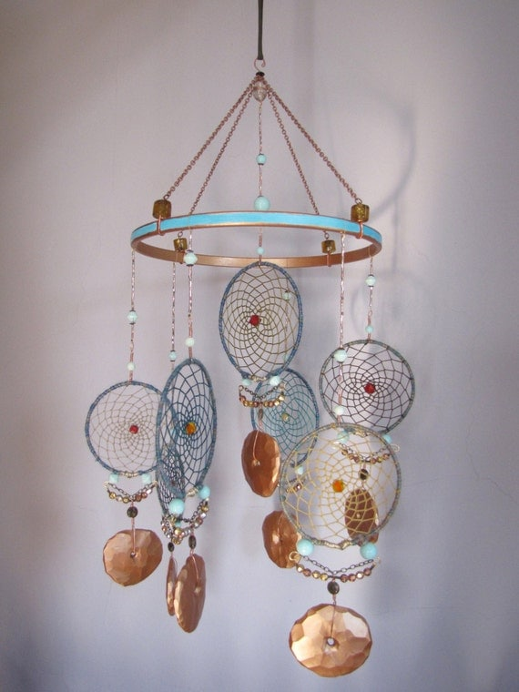 Items Similar To Teal And Copper Dream Catcher Mobile With