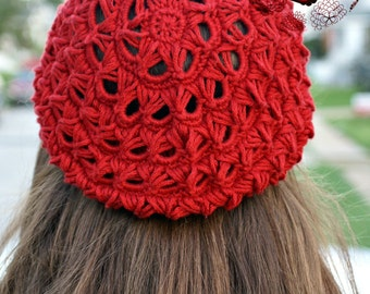 Broomstick Lace Crochet, Slouchy Hat, Beret, Broomstick Lace worked in a Round, PDF, Crochet Pattern, Lace Crochet, Outlander