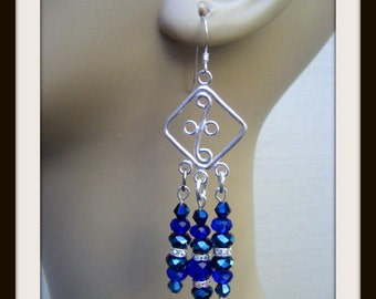 999 Pure Silver Ear wire, 999 Pure Silver Earring Component,  Swarovski Royal Blue, Metallic Blue, Deep Blue Crystals, Cubic Zironia Spacers