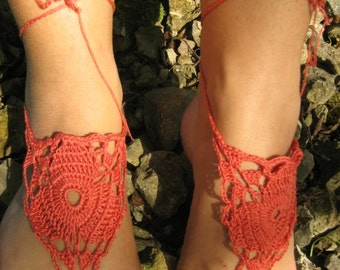 Barefoot Sandals,brown Crochet Sandals, Sexy Foot Jewelry, Yoga Shoes, Foot Thongs, Nude Shoes, Lace Sandles