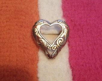 Open Heart Sterling Pin