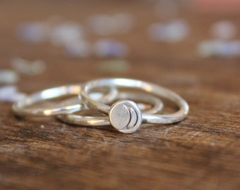 Stering Silver Luna Stacking Ring Set