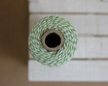 grass GREEN Baker's twine - full spool of 110 yards - 100M - light green & white - BT09
