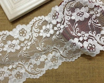 Soft Stretch Lace in White, Embroidered Elastic Lace Trim for Bridal Garter Lace, Headband, Costume design