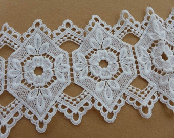 Retro White Hollowed QMilch Lace Trim for Bridal, Garters, Jewelry or Costume Design