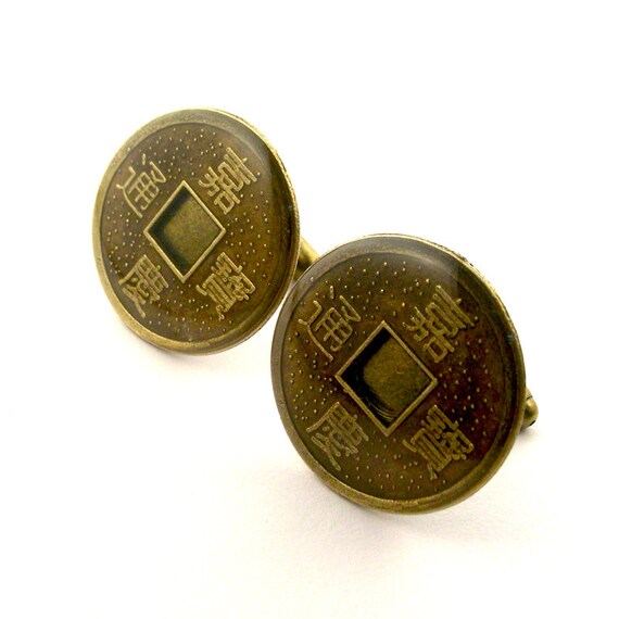zen cufflinks chinese coin cufflinks feng shui good by steamsect. Black Bedroom Furniture Sets. Home Design Ideas