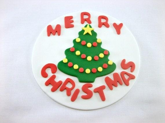 Edible Christmas Cake Images : Merry Christmas Cake Topper Edible Fondant Decor, Holiday ...
