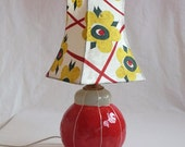 Handmade, ceramic table lamp with Japanese rice paper, floral, shade. Cute, cozy, lighting fixture, from Kri Kri Studio, Seattle