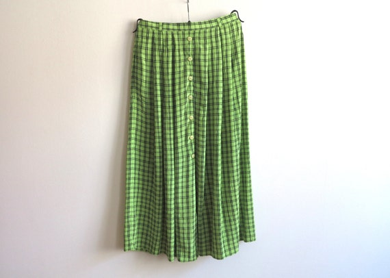 lime green black plaid pleated skirt midi by vintageoffer