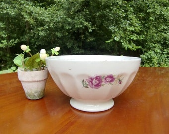 French vintage  white  bowl cafe au lait bowl, pink rose floral decor, large bowl