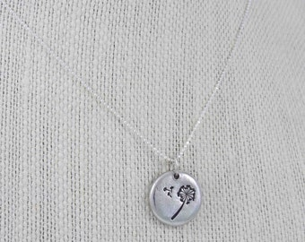 Dandelion Necklace, Dandelion Charm, Dandelion Puff, Dandelion Jewelry, Flower Necklace, Pewter Necklace, Hand Stamped, Personalized Gift