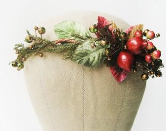 Winter wedding hair accessories, Woodland flower crown, Fantasy headdress, Statement bridal headpiece, Wreath - DRYAD'S DANCE