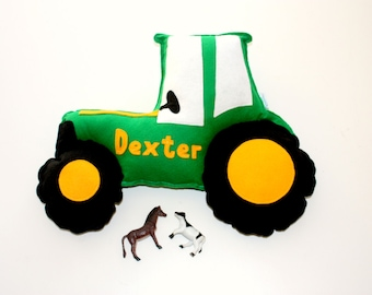 Personalised Tractor - farm decor, farmyard themed, personalised gift, tractor, green blue and red tractor