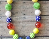 CLEARANCE SALE Bad Piggies Angry Birds Inspired Chunky Bead Necklace Ready To Ship