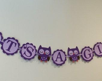 It's a Girl Purple Owl Banner