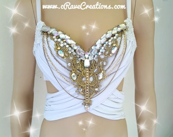 White and Gold and Glam Design Custom Bra Costume Lingerie Rave Bra
