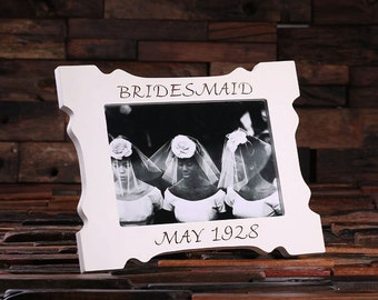 5 x 7 Personalized White Wood Engraved Monogrammed Bridesmaid, Maid of Honor, Bridal Picture Photo Frame (024292-5x7)