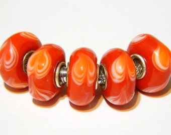 1x Orange Glass Murano Heart Beads - Large Hole - Lampwork Beads - Fits European - A192