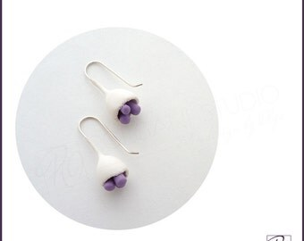 Handcrafted Polymer Clay Small Cute Earrings White Purple Flower Bud, Simple Modern Jewelry, Sterling Silver, Ready to ship.