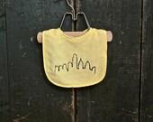 Yellow Philadelphia Skyline Baby Bib