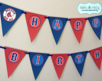 Boston Red Sox Party MLB Custom Banner / Birthday / Red Sox Baby Shower - File to PRINT DIY