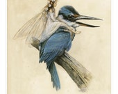 Small Fine Art Print - The Fairy on the KINGFISHER