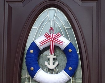 Nautical Wreath with Buttons and Anchor