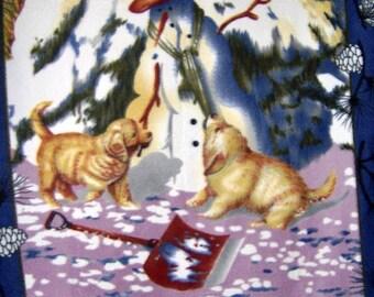 Snowman Golden Retriever Pups Fleece Throw