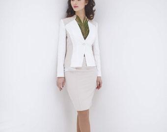 White blazer for woman, blazers for woman, woman's white jacket, cotton blazer, cream blazer, made to order, free shipping