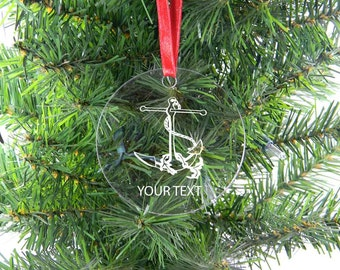 Personalized Custom Anchor Clear Acrylic Christmas Tree Ornament with Ribbon