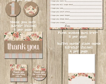 first birthday party printables, 1st birthday kit, printables package, shabby style, decorations, baby girl birthday kit,