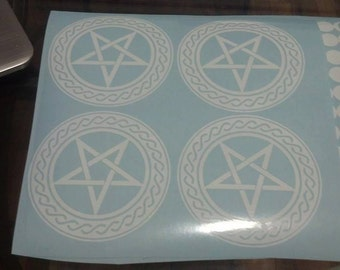 Ornate Pentagram Car Decal 4.5 inches by 4.5 inches