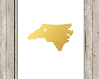 8x10 North Carolina State Printable, State Wall Art, Metallic Gold Printable Art, North Carolina Poster, Home Decor, Instant Download