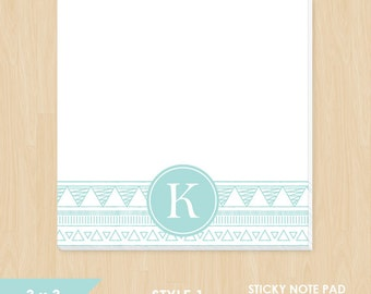 Personalized Sticky Note Pad // Teal Aztec Doodle with Monogram Initial // S109