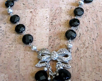 Black onyx and 925 sterling Silver necklace with pendant
