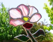 Stained Glass Sun Catcher Pink Spring Flower Suncatcher Tiffany Glass Art Garden Decoration Free Shipping Ready to Ship Gift Idea