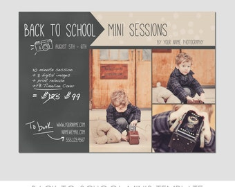 Mini Session Postcard - Photography Template - Flyer - Back To School - Kids - Chalkboard - Minis - Photoshop - Elements - Easy - 5x7