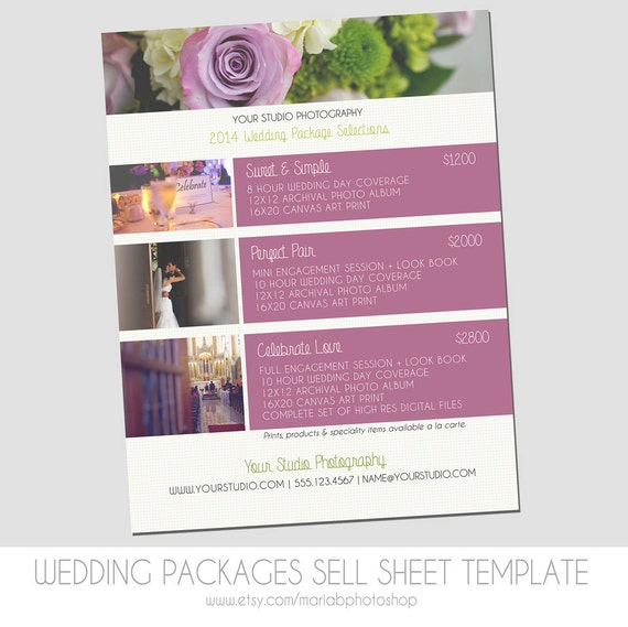 Wedding Photography Packages Template: Sell Sheet Collections Or Packages Pricing Template