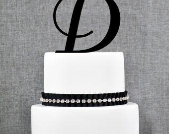 Personalized Monogram Initial Wedding Cake Toppers -Letter D, Custom Monogram Cake Toppers, Unique Cake Toppers, Traditional Initial Toppers