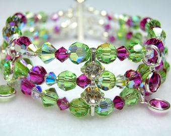 Peridot and Fuchsia 3 Strand Crystal Bracelet