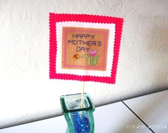 Planter sign - Happy Mother's Day Cross-stitch planter/flower sign