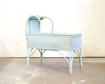 English Baby Blue Painted Wicker Crib