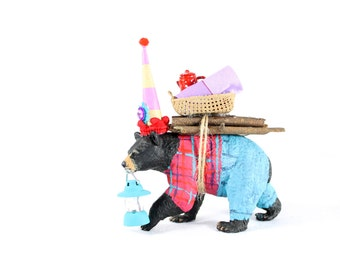 "Camping Bear- ""Made to Order"" Cake topper,  painted birthday, and room decor"
