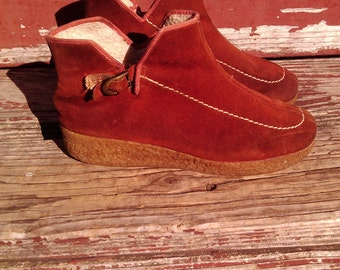 Vintage 70s Suede Crepe Sole Boots Outdorables By Daniel Green 7-8