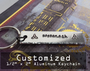 "Custom Personalized 1/2"" x 2"" Aluminum Key Chain Fob - Hand Stamped"