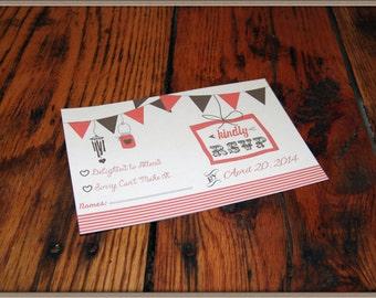 Printed Rustic RSVP Card,rustic wedding,pennant banner rsvp,personalized rsvp,custom color rsvp,country wedding,vintage wedding,mason jar