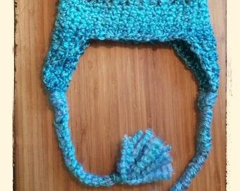 Crochet bulky yarn Hat with Ear flaps Braids Photo prop