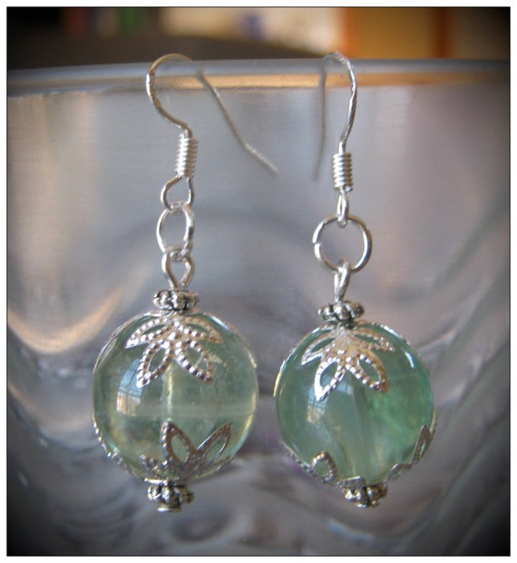 Handmade Silver Hook Earrings with Green Fluorite by IreneDesign2011