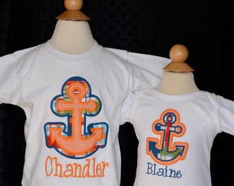 Personalized Double Anchor Applique Shirt or Onesie Boy or Girl